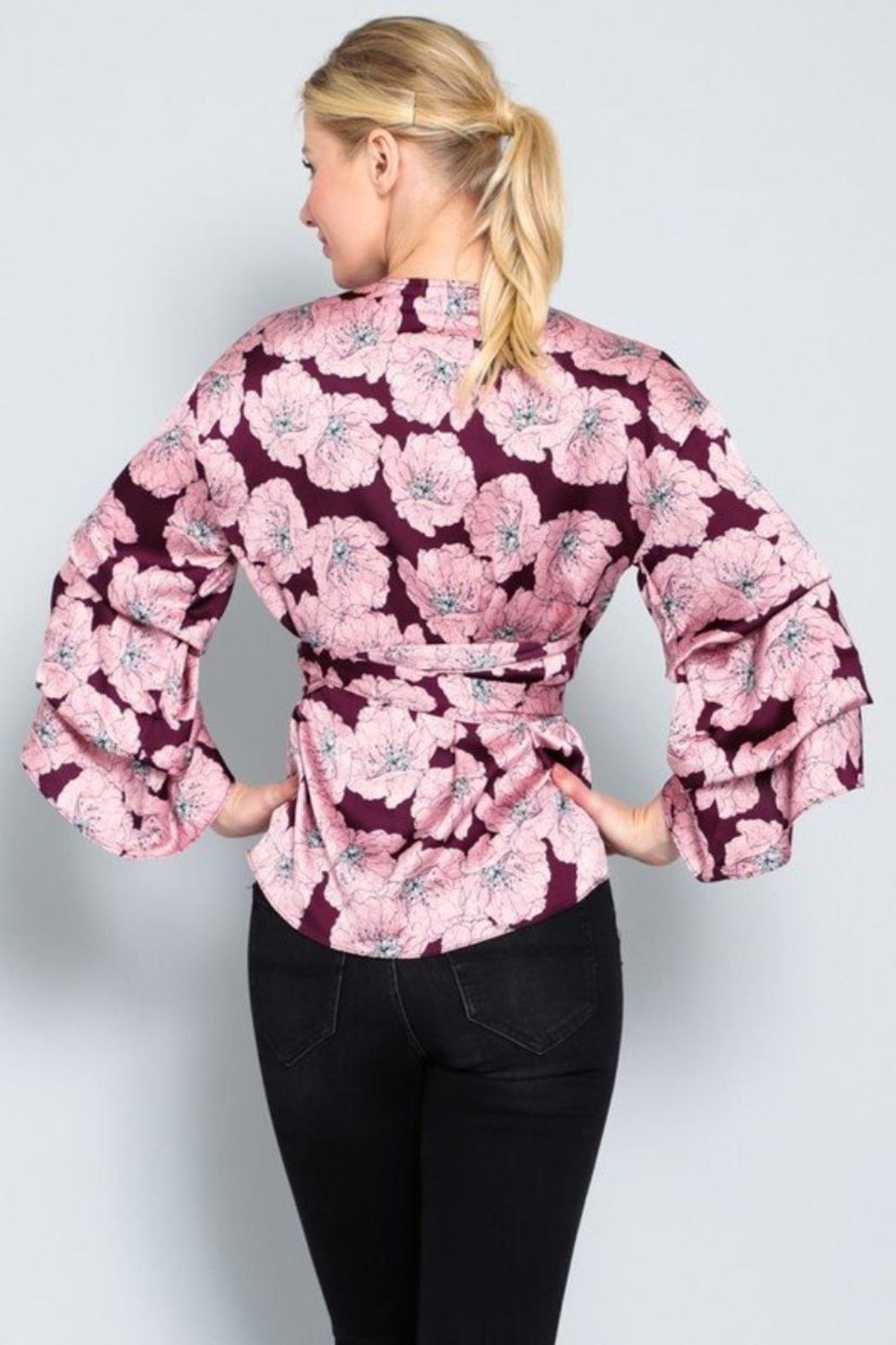 AAKAA Floral Wrap Top - Side Cropped Image