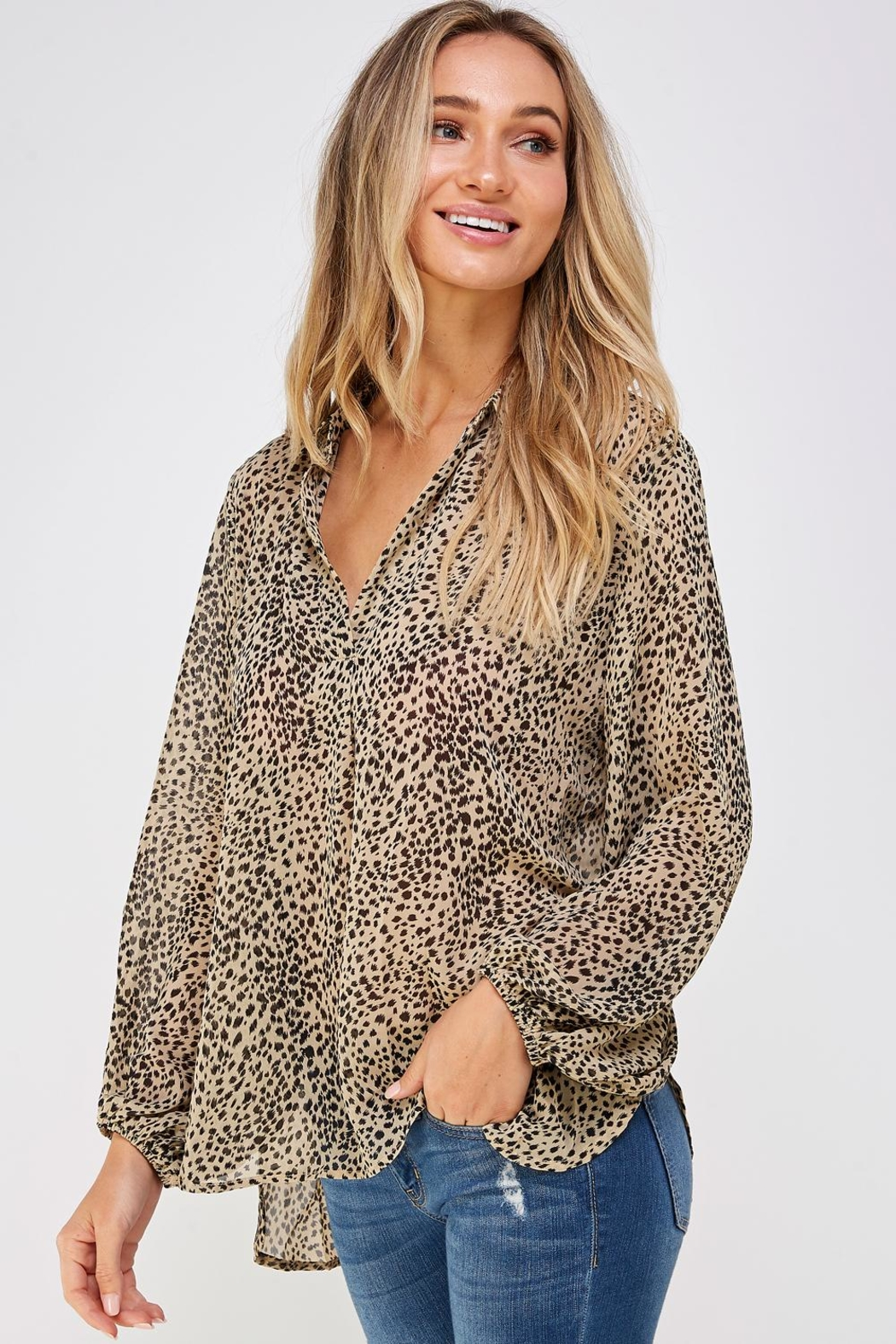 AAKAA Leopard Print Blouse - Side Cropped Image