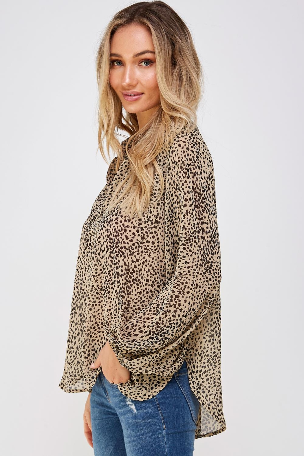 AAKAA Leopard Print Blouse - Front Full Image