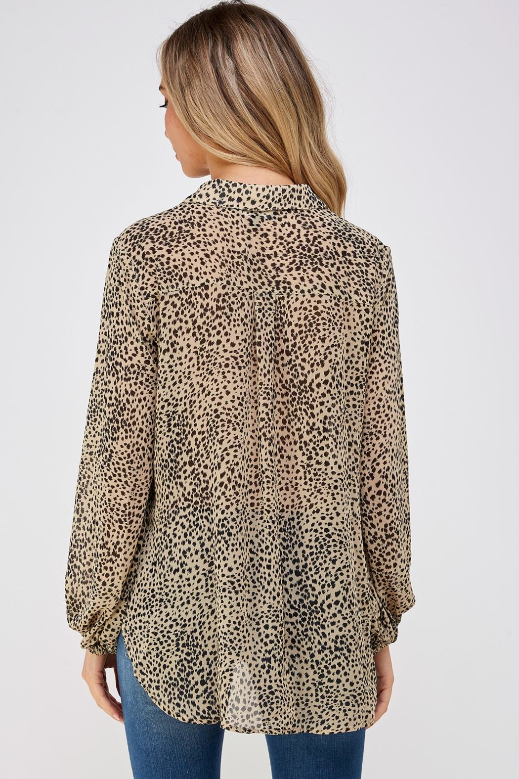 AAKAA Leopard Print Blouse - Back Cropped Image