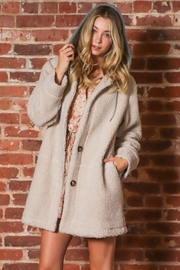 AAKAA Long Sleeve Button Down Hoodie Faux Fur Jacket - Product Mini Image