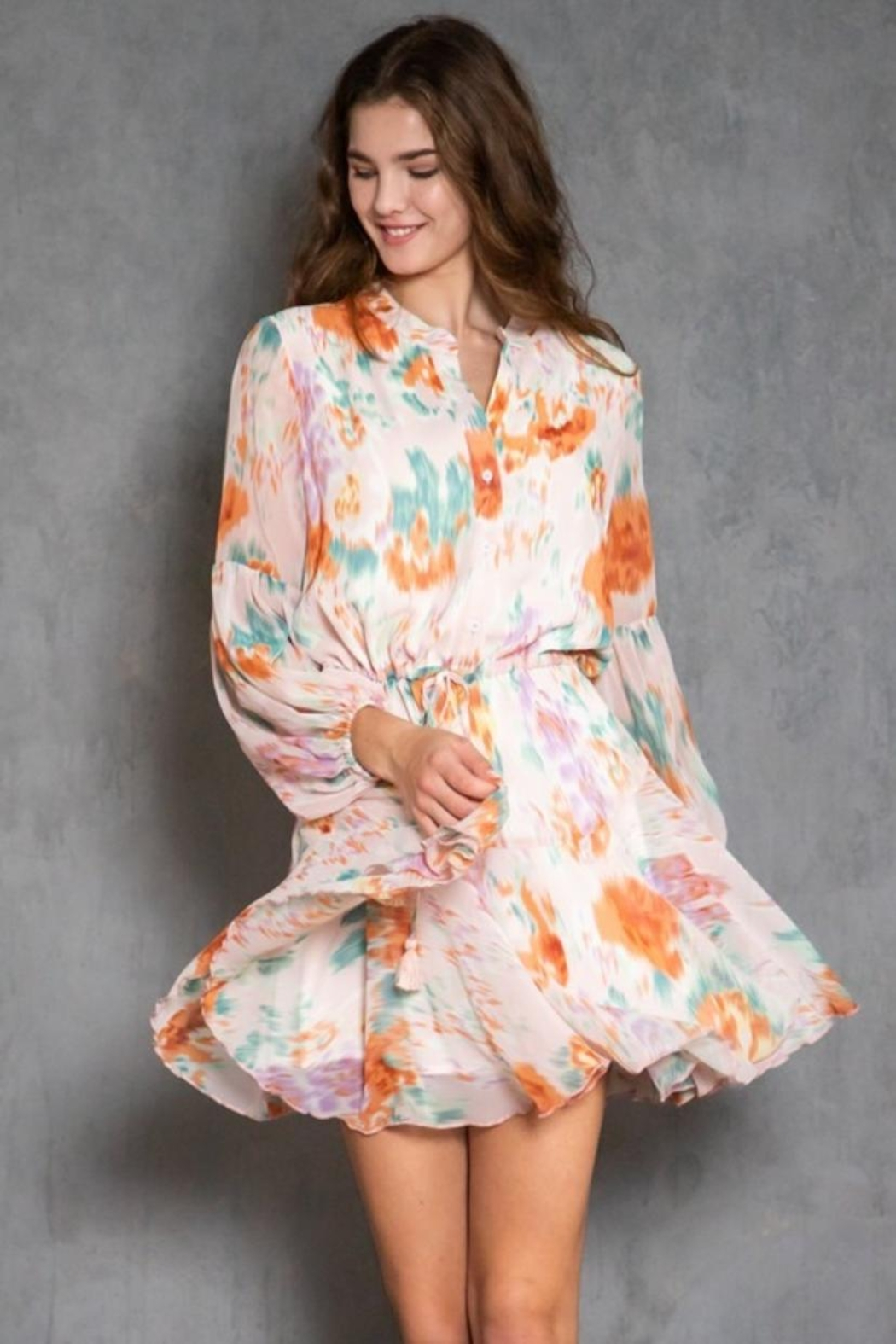 AAKAA Long-Sleeve Printed Dress - Front Full Image