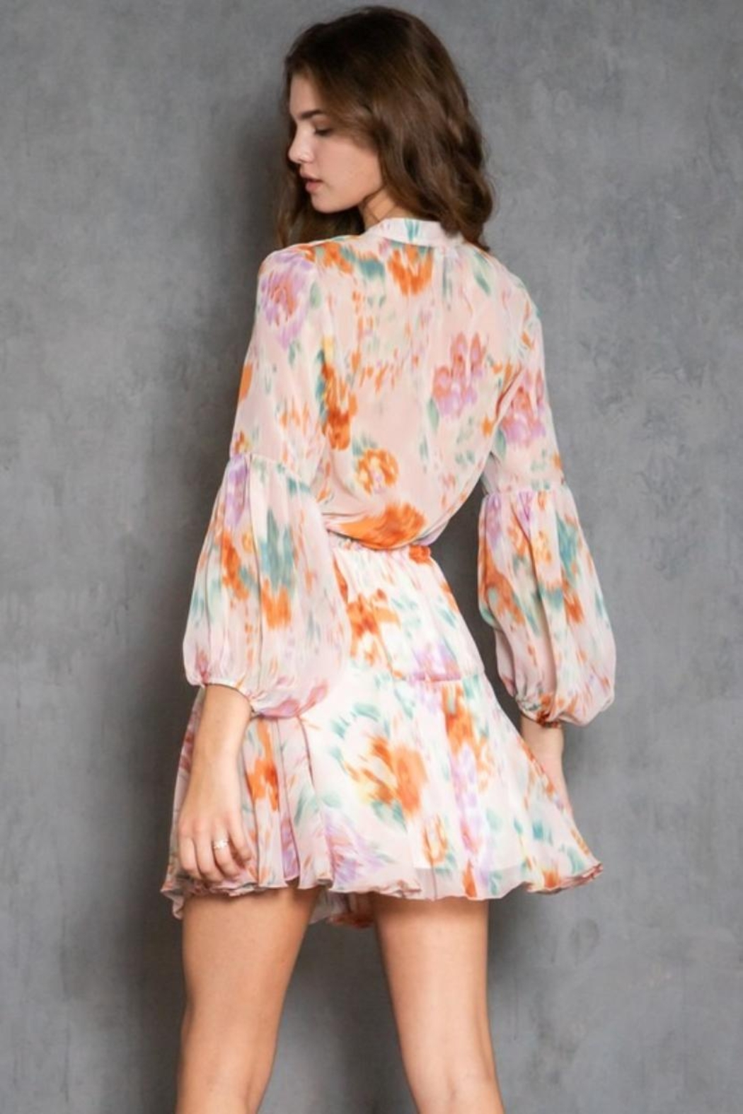 AAKAA Long-Sleeve Printed Dress - Back Cropped Image