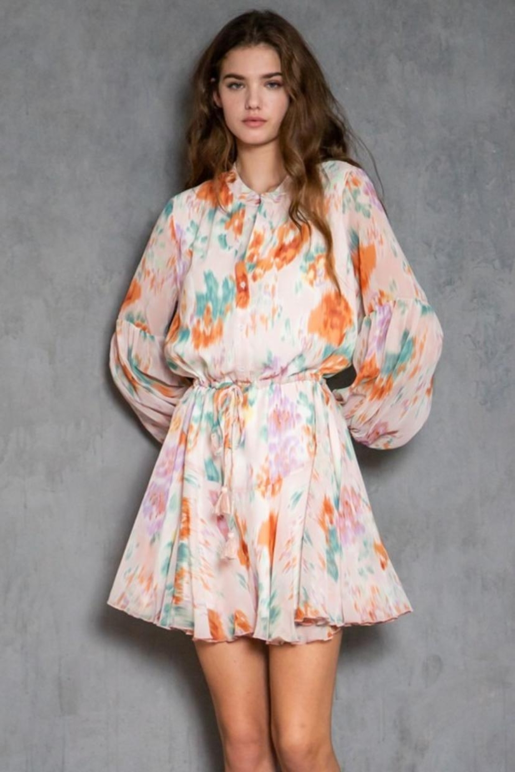 AAKAA Long-Sleeve Printed Dress - Main Image