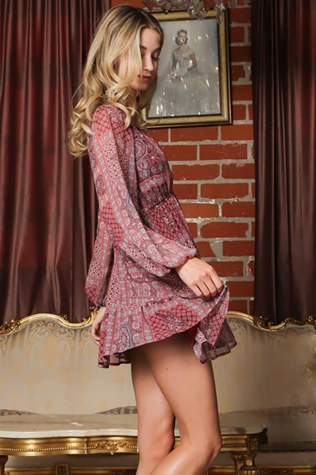 AAKAA Long-Sleeve V-Neck Button Down Mini Dress - Front Full Image