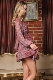 AAKAA Long-Sleeve V-Neck Button Down Mini Dress - Front full body