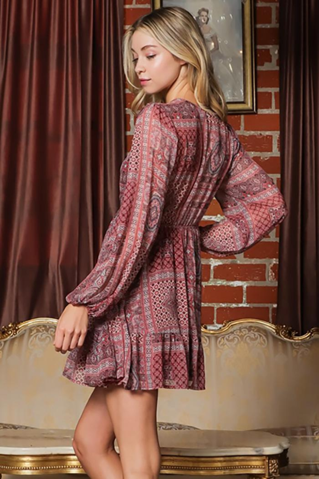 AAKAA Long-Sleeve V-Neck Button Down Mini Dress - Side Cropped Image