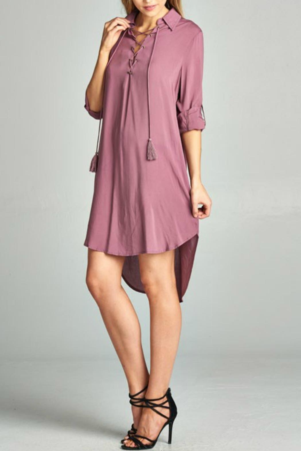AAKAA Mauve Lace Up Dress - Front Full Image