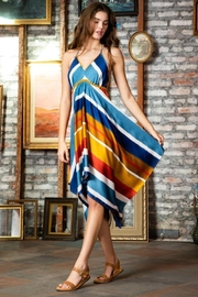 AAKAA Multi-Colored Striped Halter Dress - Product Mini Image