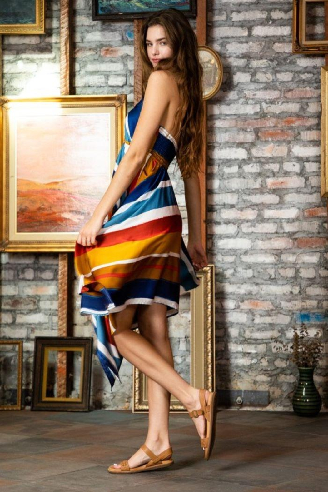 AAKAA Multi-Colored Striped Halter Dress - Side Cropped Image