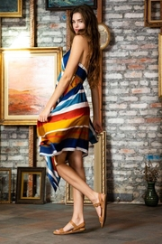 AAKAA Multi-Colored Striped Halter Dress - Side cropped