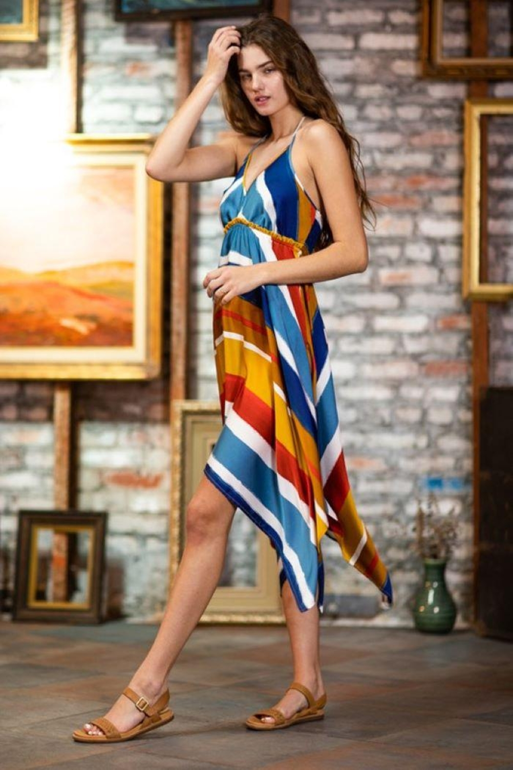 AAKAA Multi-Colored Striped Halter Dress - Back Cropped Image