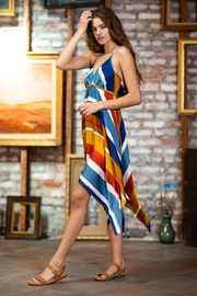 AAKAA Multi-Colored Striped Halter Dress - Back cropped
