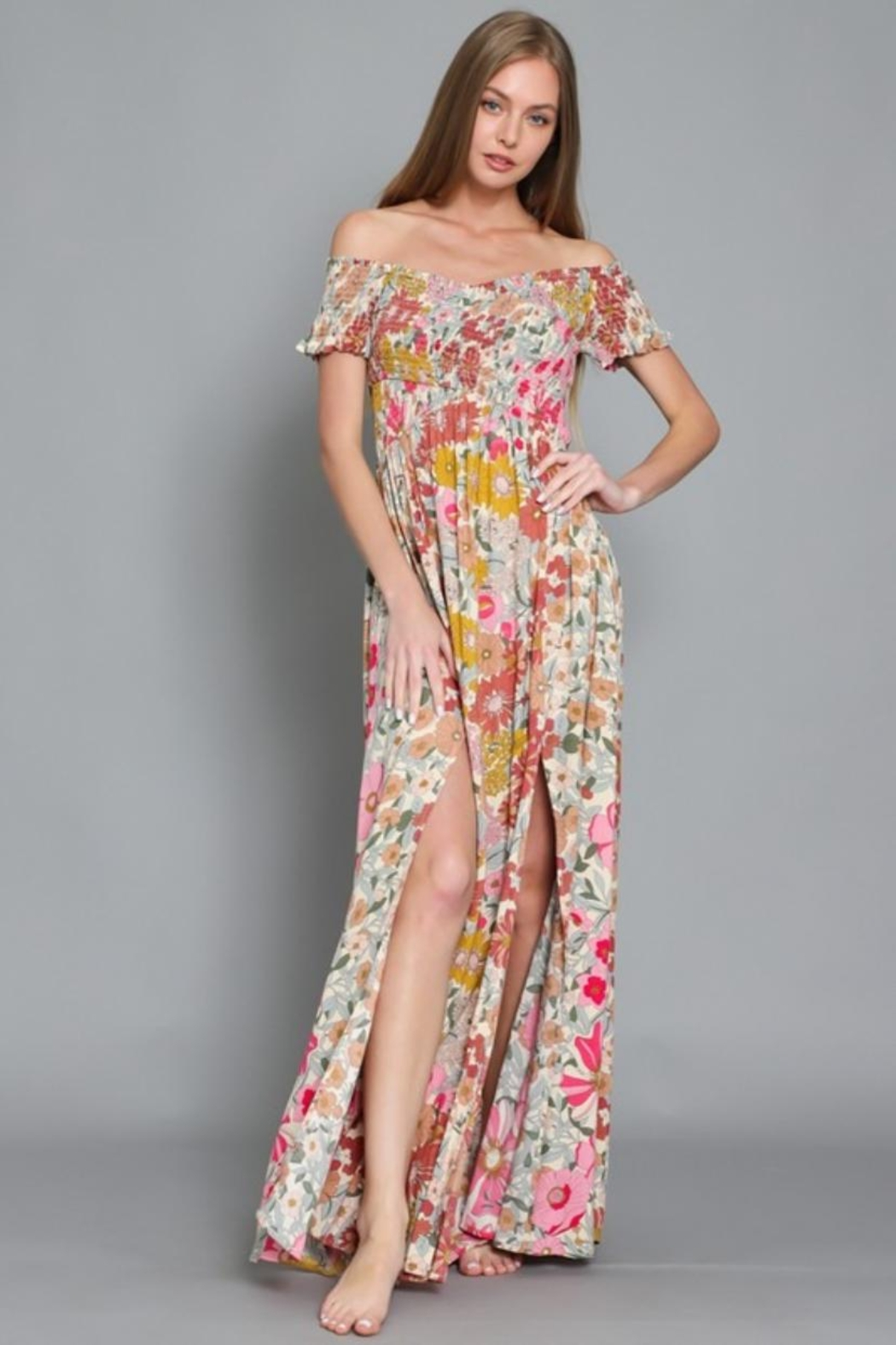 AAKAA Off-Shoulder Floral Maxi - Front Full Image