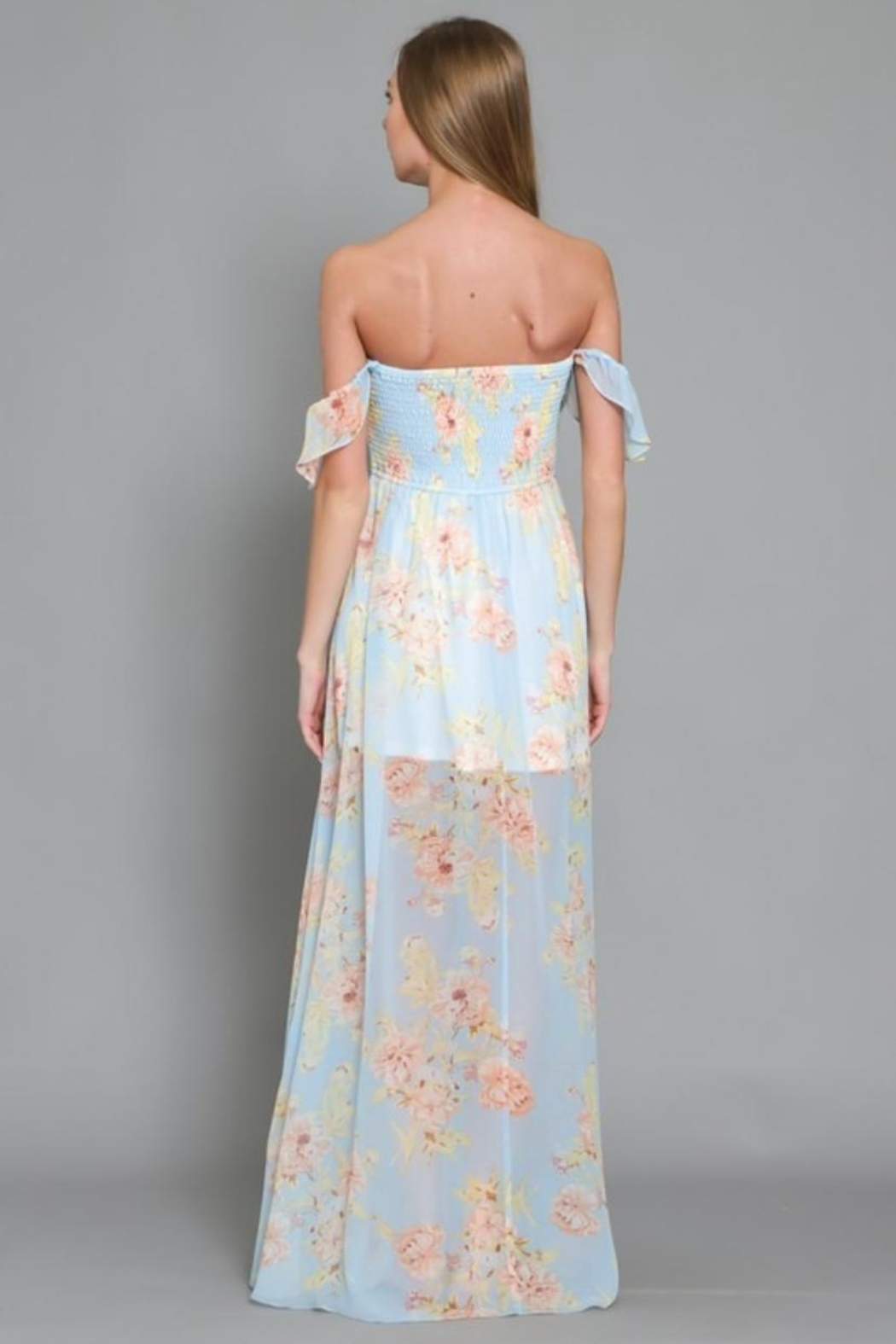 AAKAA Off-Shoulder Floral Maxi - Back Cropped Image