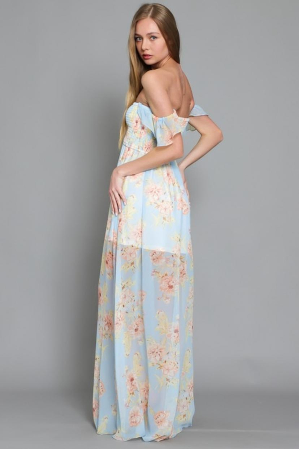 AAKAA Off-Shoulder Floral Maxi - Side Cropped Image