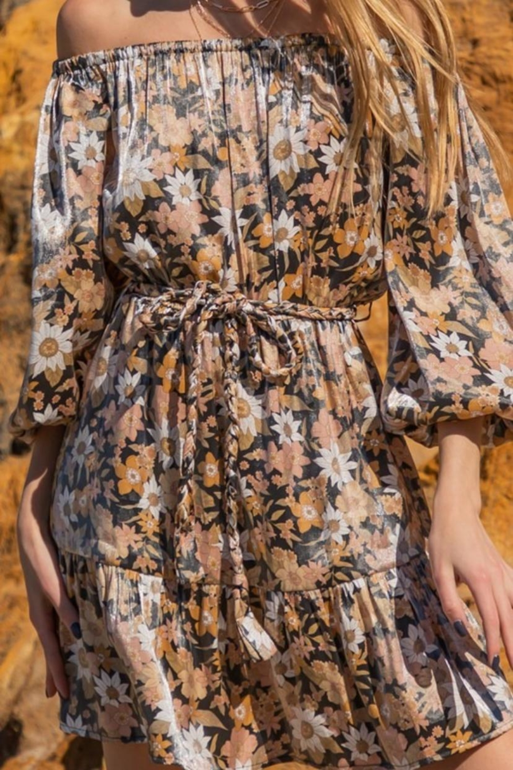 AAKAA Off-Shoulder Floral Mini - Side Cropped Image