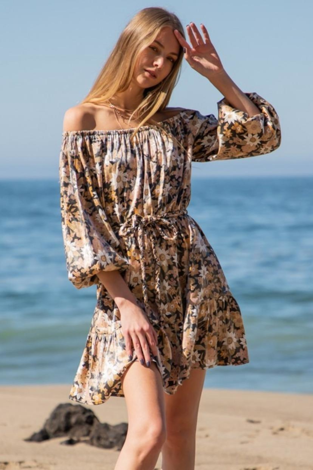 AAKAA Off-Shoulder Floral Mini - Front Full Image