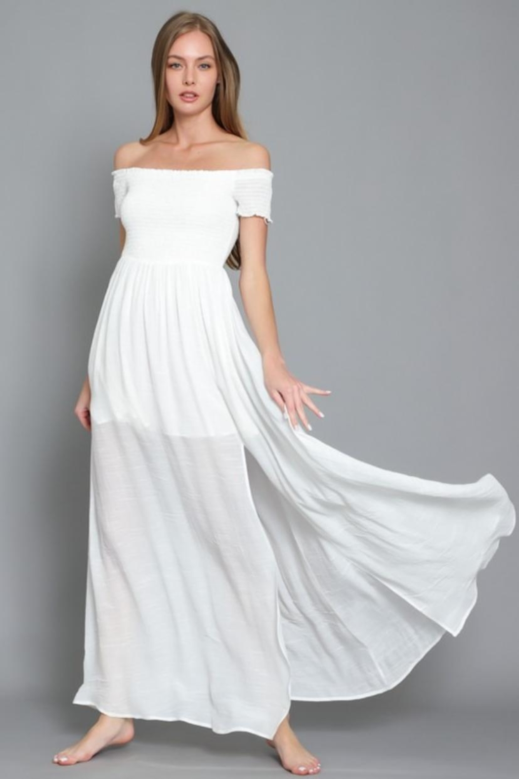 AAKAA Off-Shoulder Maxi Dress - Front Full Image