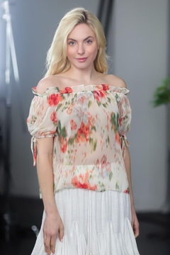 AAKAA Off Shoulder Sheer Blouse - Product List Image