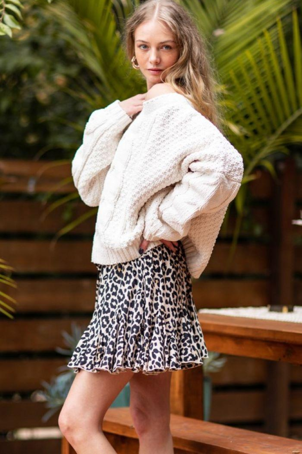 AAKAA Oversized Knitted Loose Sweater - Main Image