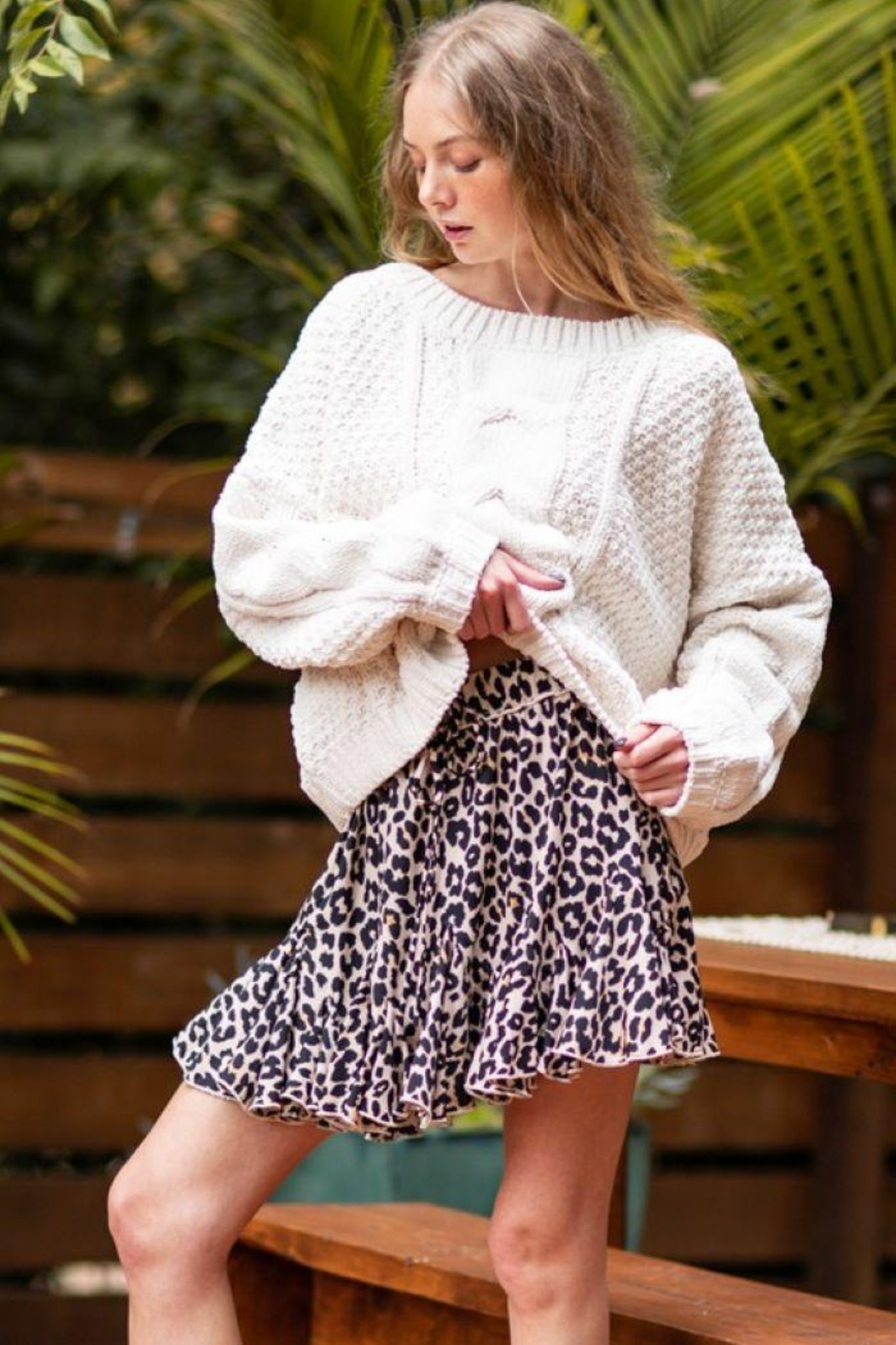 AAKAA Oversized Knitted Loose Sweater - Front Full Image