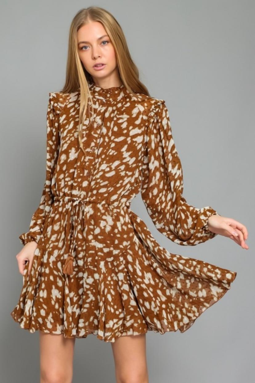 AAKAA Printed Button-Down Dress - Front Full Image