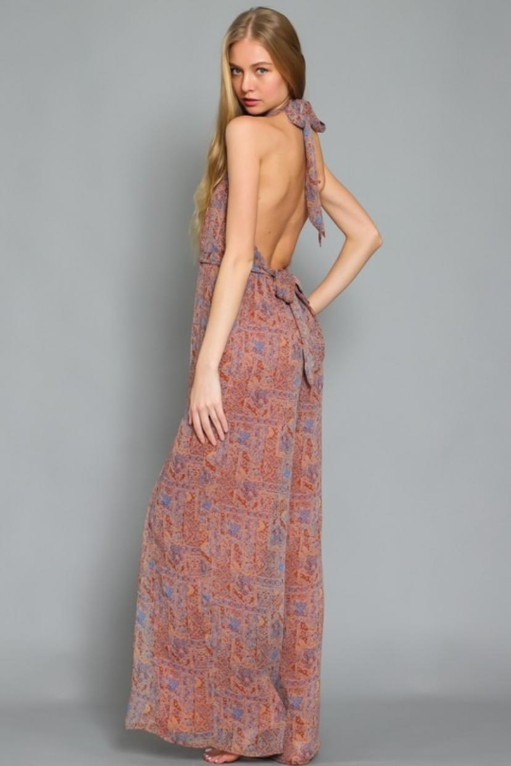 AAKAA Printed Halter Jumpsuit - Front Full Image