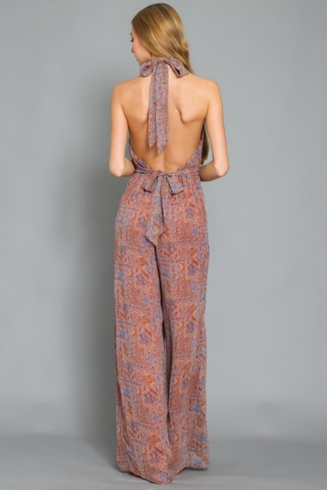 AAKAA Printed Halter Jumpsuit - Side Cropped Image