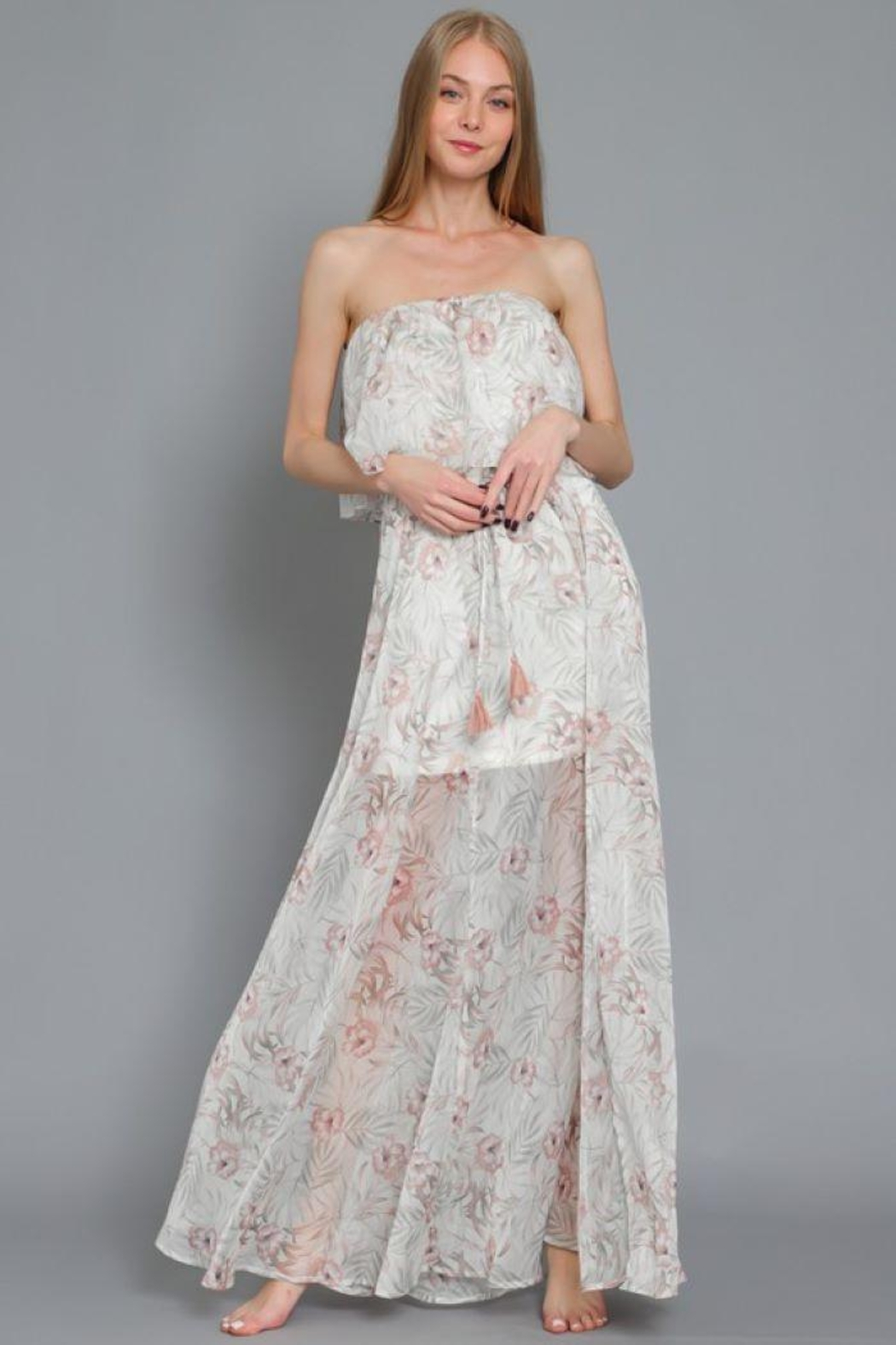 AAKAA Printed Tube Maxi Dress - Side Cropped Image