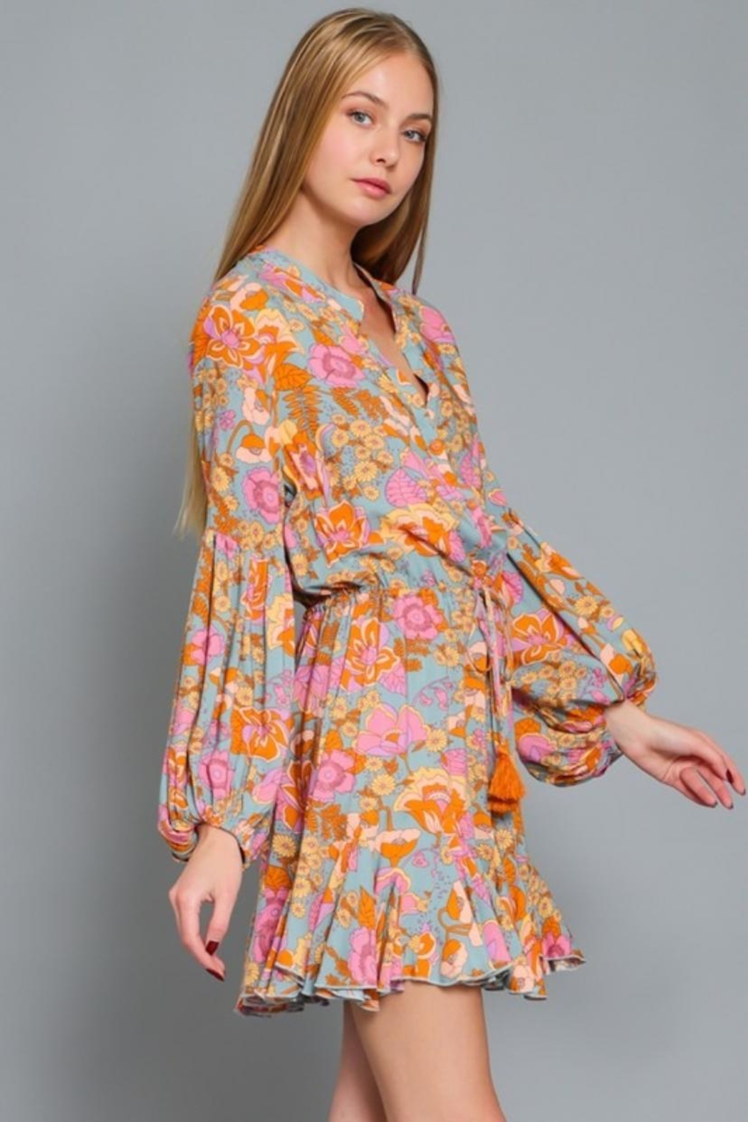 AAKAA Puff-Sleeve Floral Dress - Front Full Image