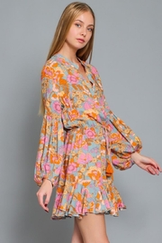 AAKAA Puff-Sleeve Floral Dress - Front full body