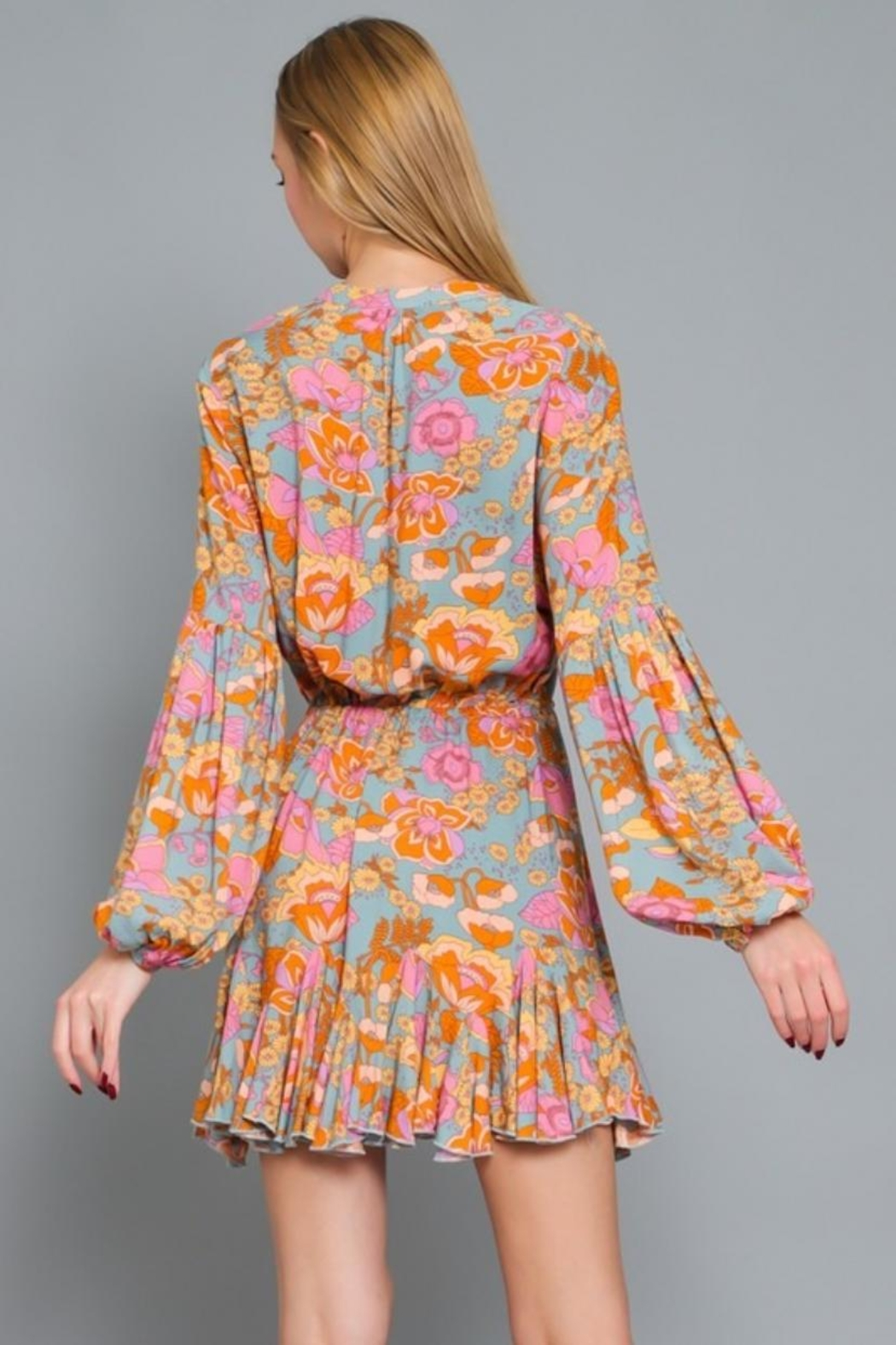 AAKAA Puff-Sleeve Floral Dress - Side Cropped Image