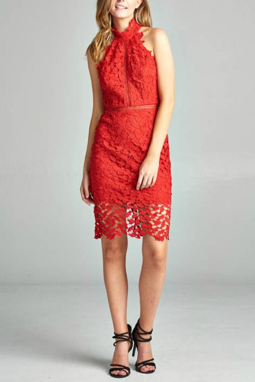 AAKAA Red Lace Dress - Main Image