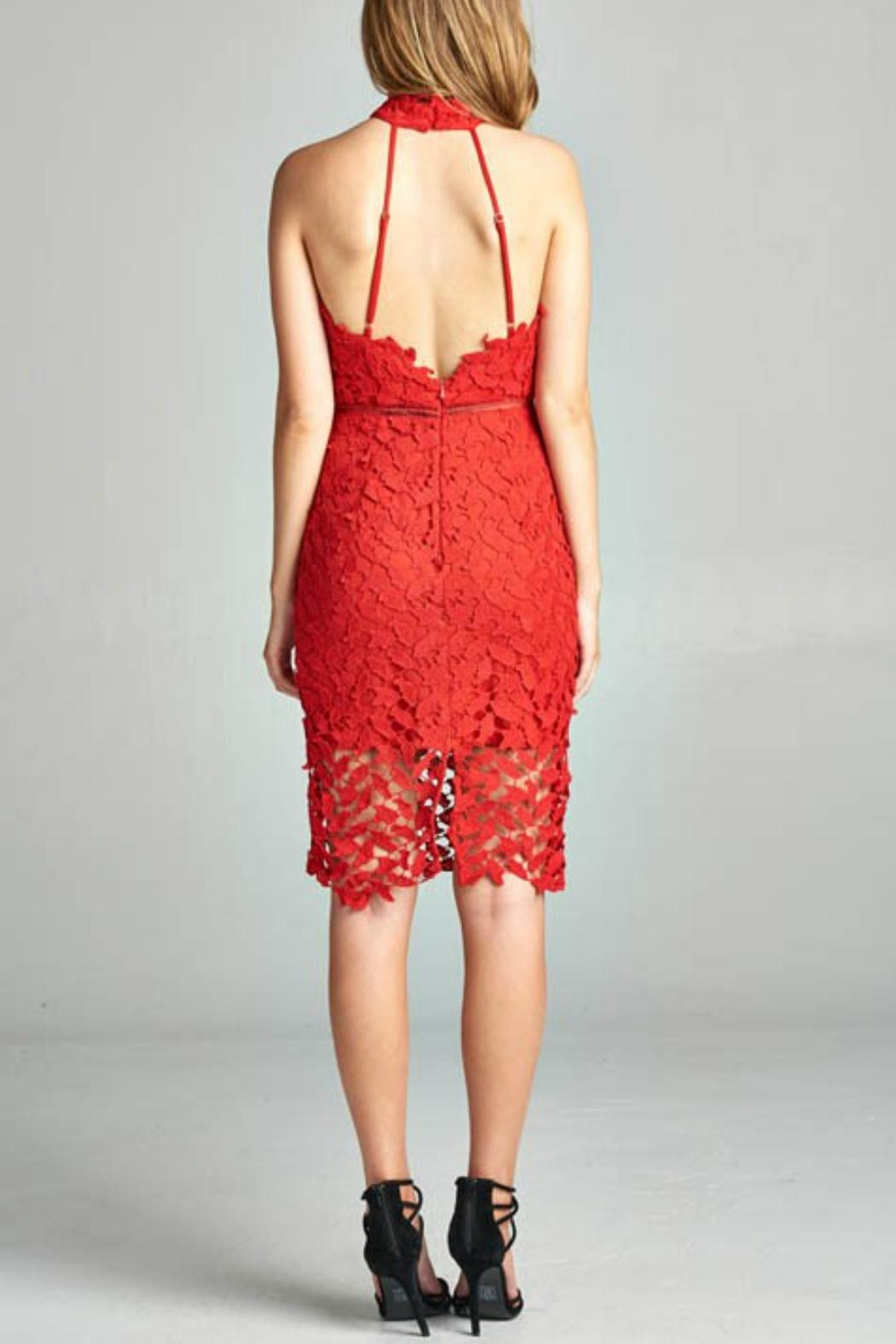 AAKAA Red Lace Dress - Front Full Image