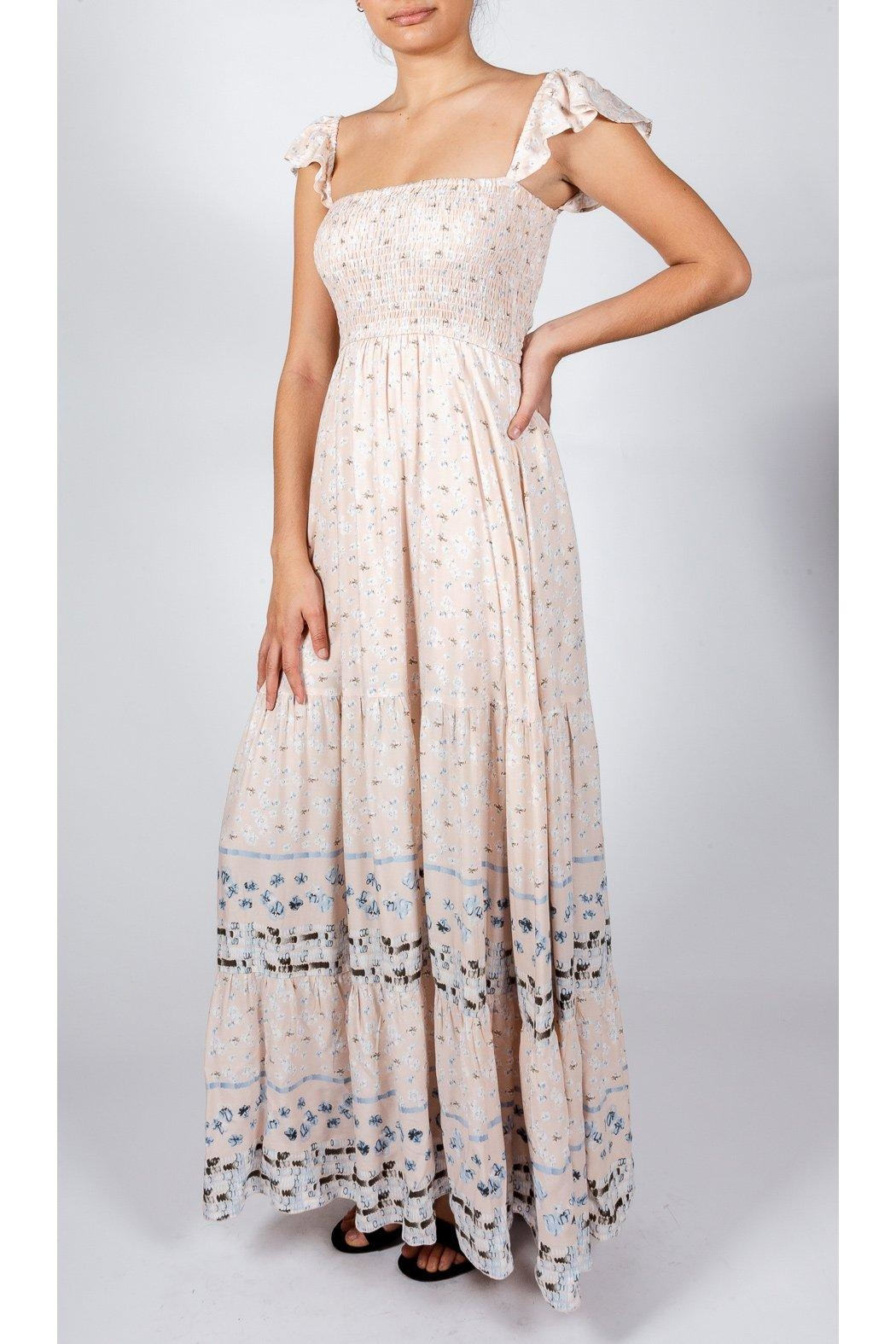 AAKAA Romantic Mixed-Print Gown - Front Cropped Image