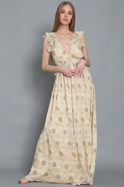 AAKAA Ruffle Shoulder Maxi - Front cropped