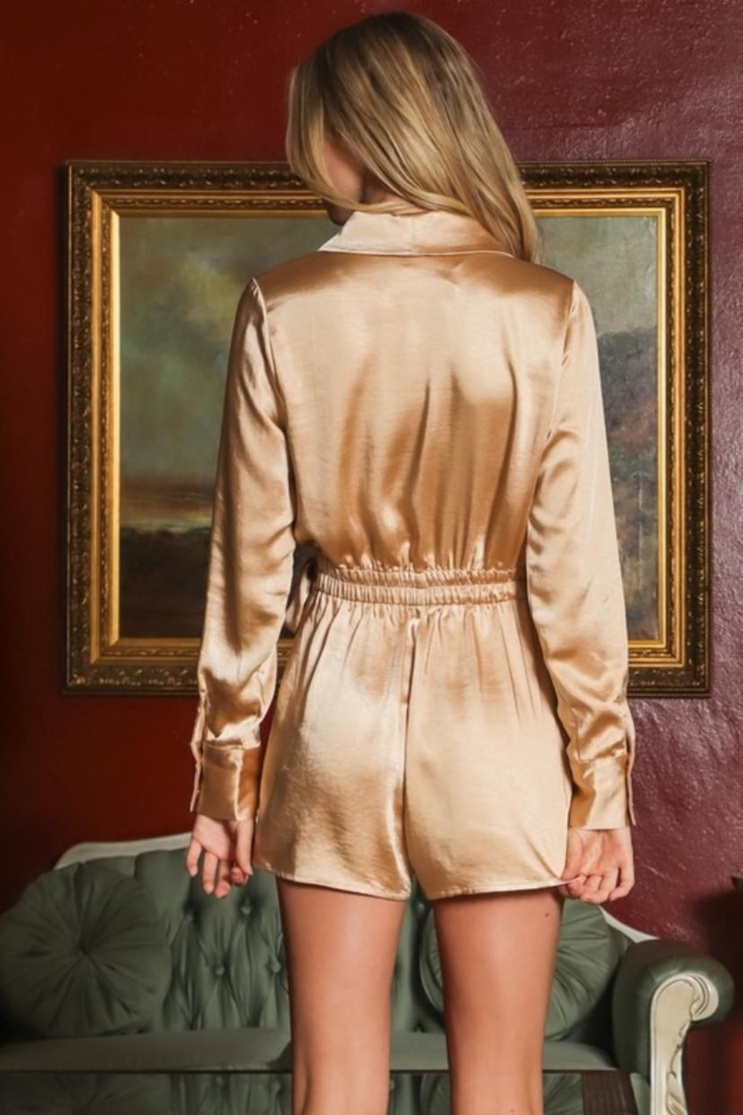 AAKAA Satin Wrap Romper - Back Cropped Image