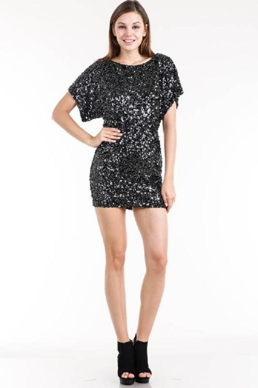 AAKAA Sequin Kimono Dress - Front Cropped Image