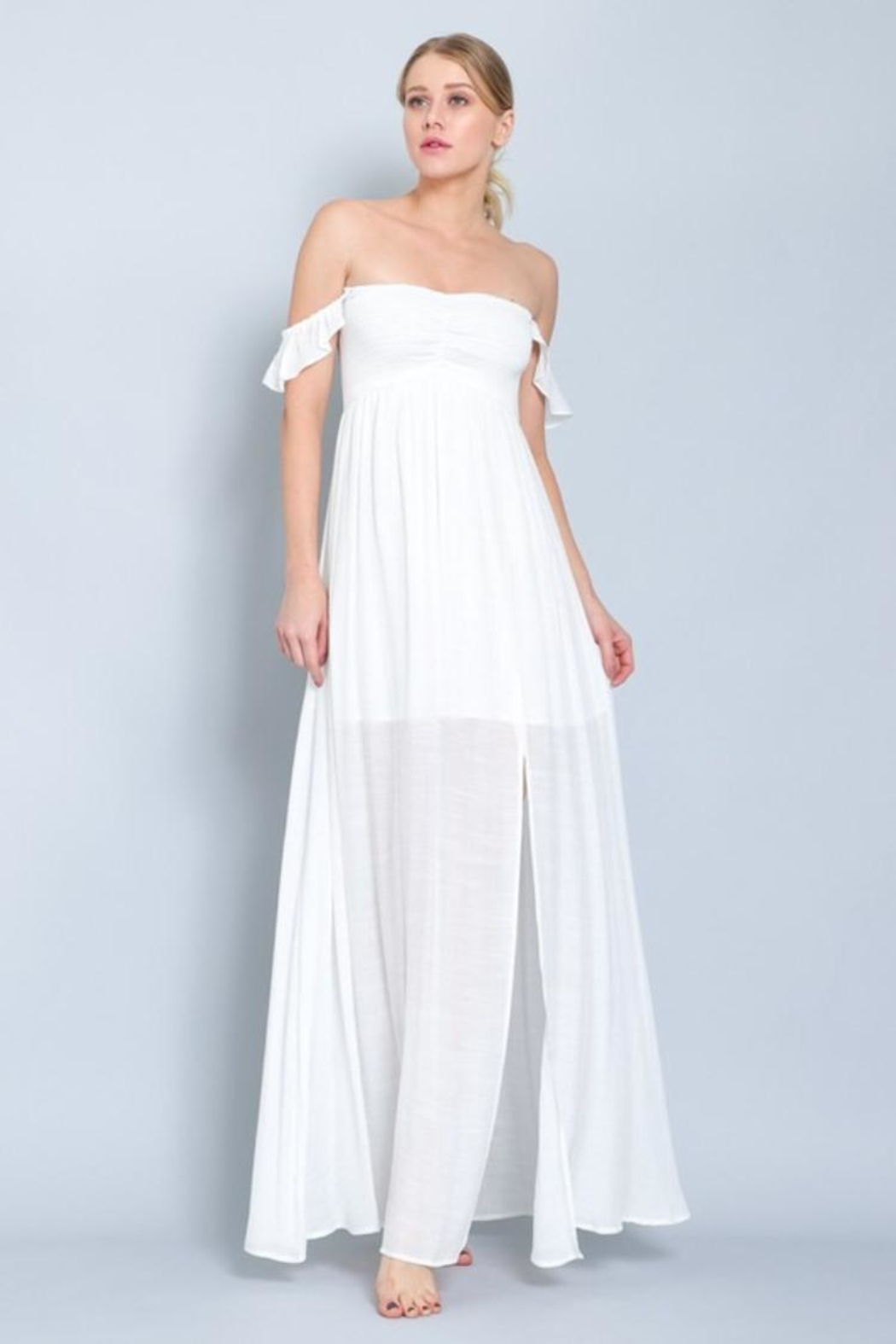 AAKAA Smocking Off-Shoulder Maxi - Front Full Image