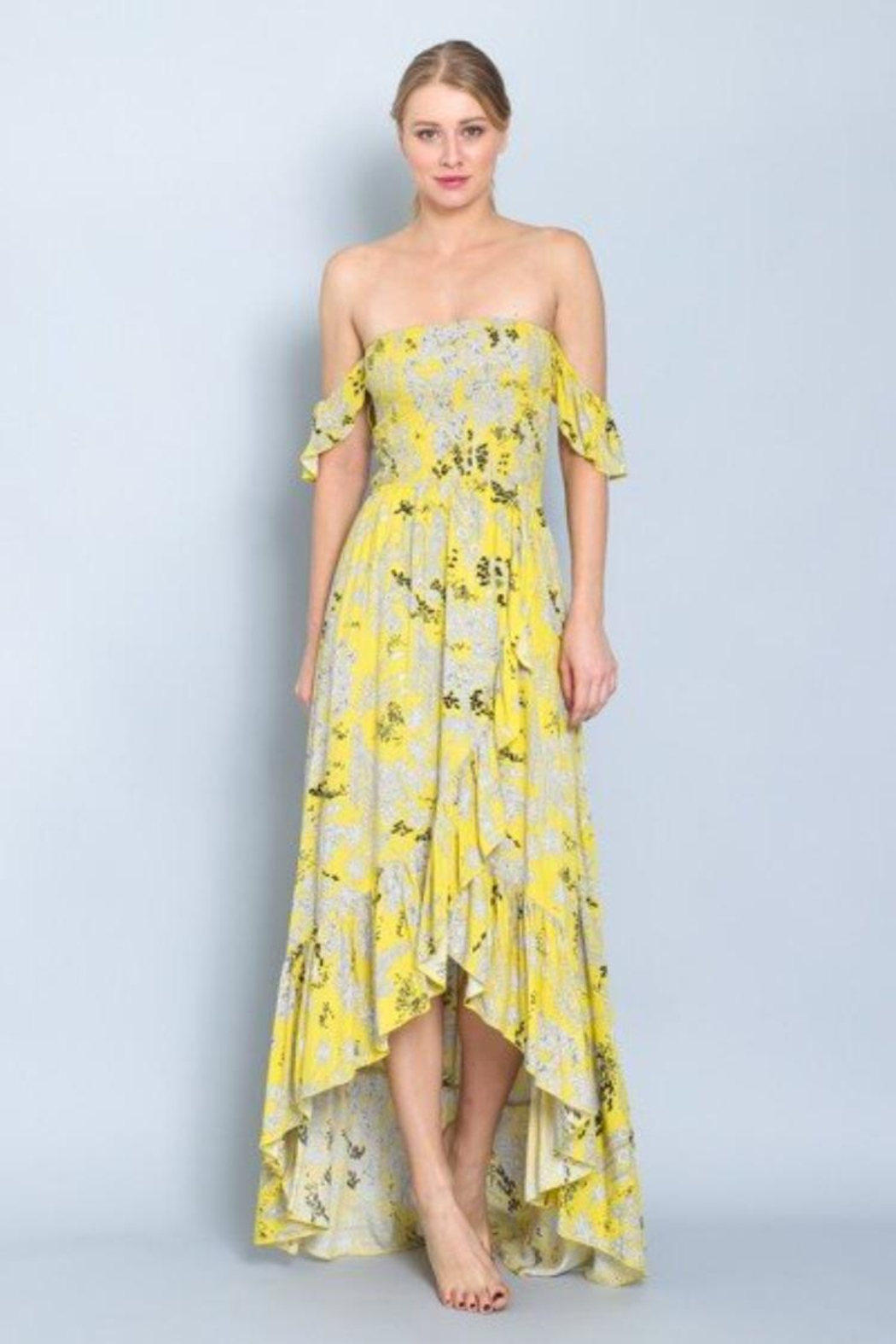 AAKAA Strapless Smocked Maxi-Dress - Front Cropped Image