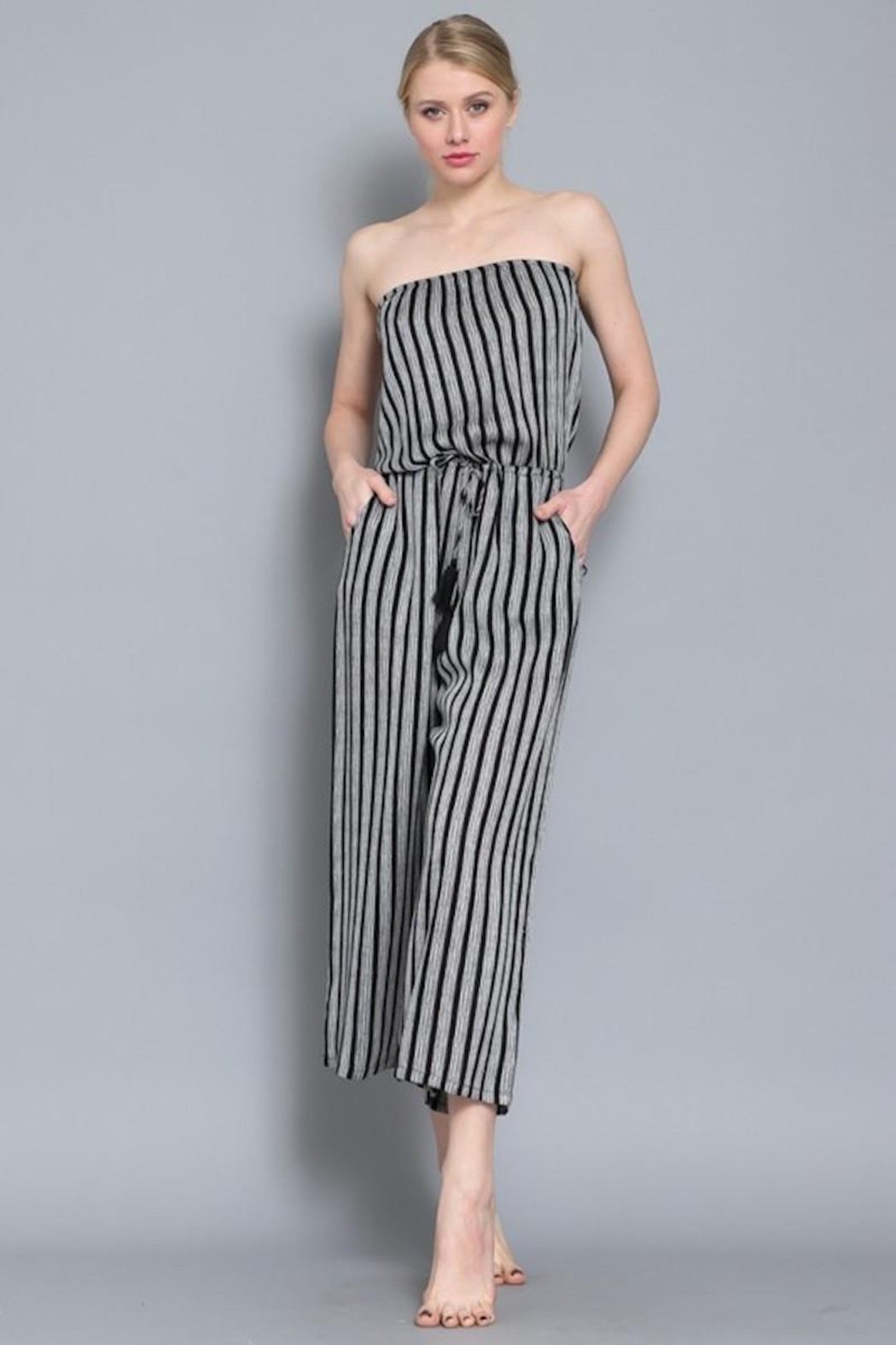 AAKAA Summertime Striped Jumpsuit - Side Cropped Image