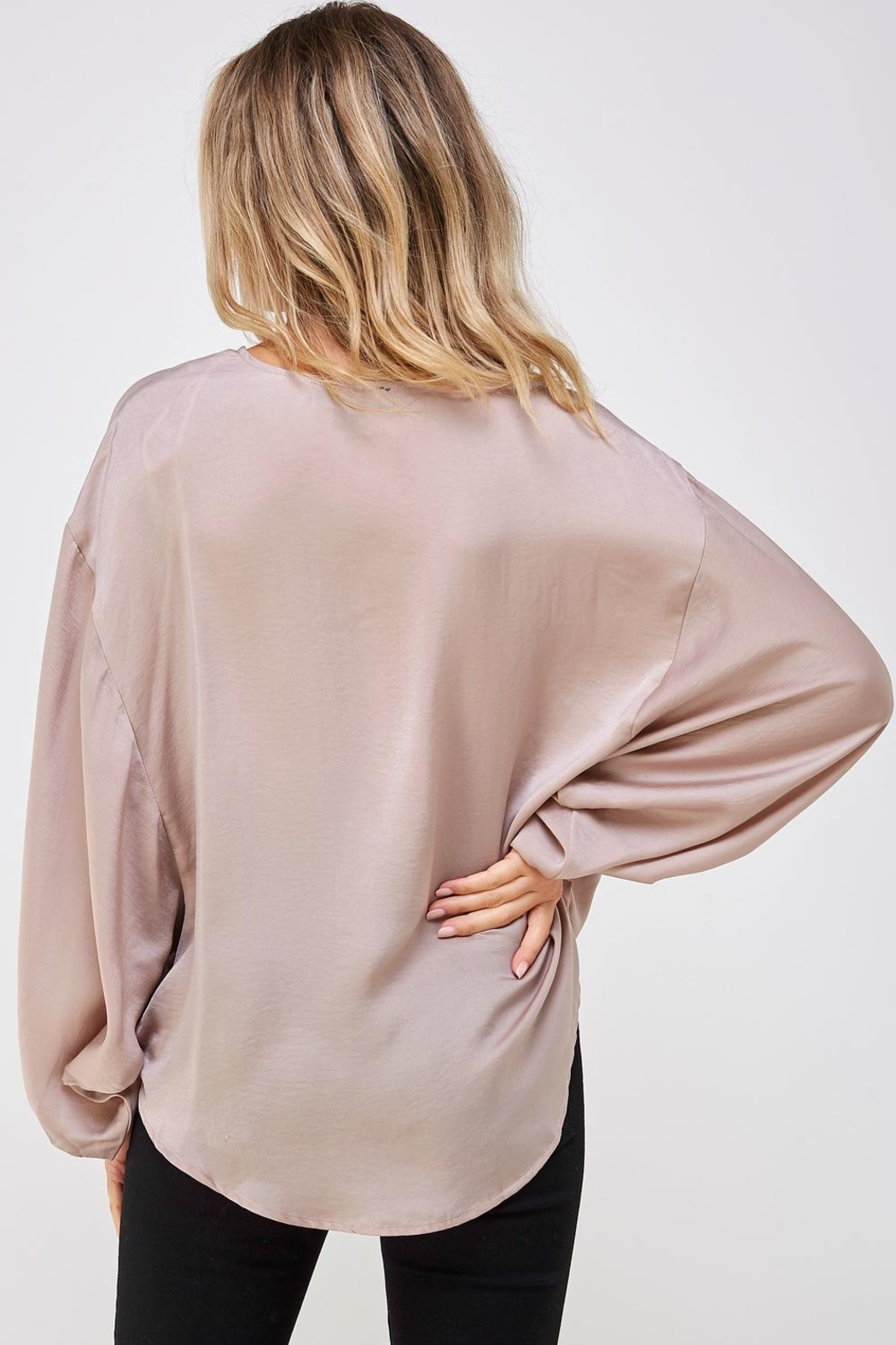 AAKAA Surplice Wrapped Top - Back Cropped Image