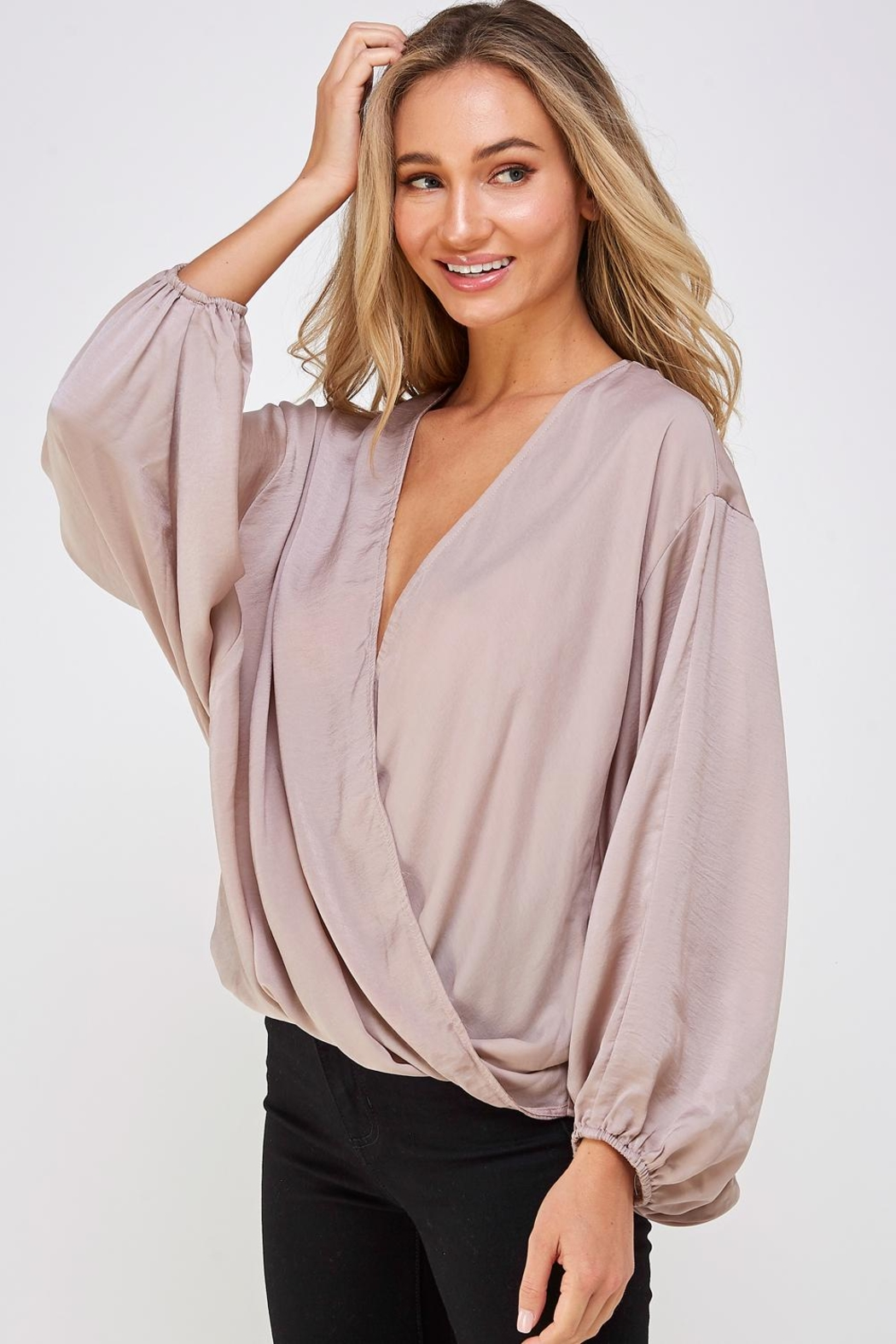 AAKAA Surplice Wrapped Top - Side Cropped Image