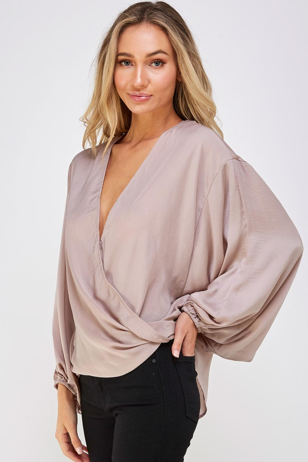 AAKAA Surplice Wrapped Top - Front Full Image