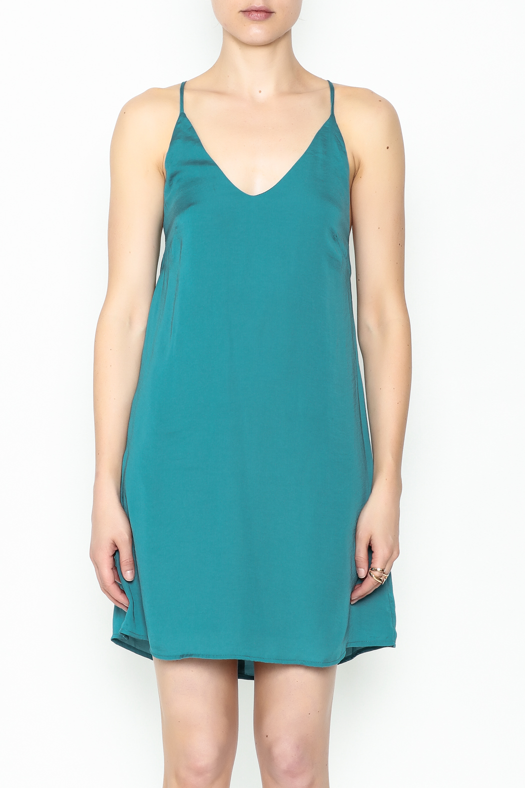 AAKAA Teal Satin Dress - Front Full Image