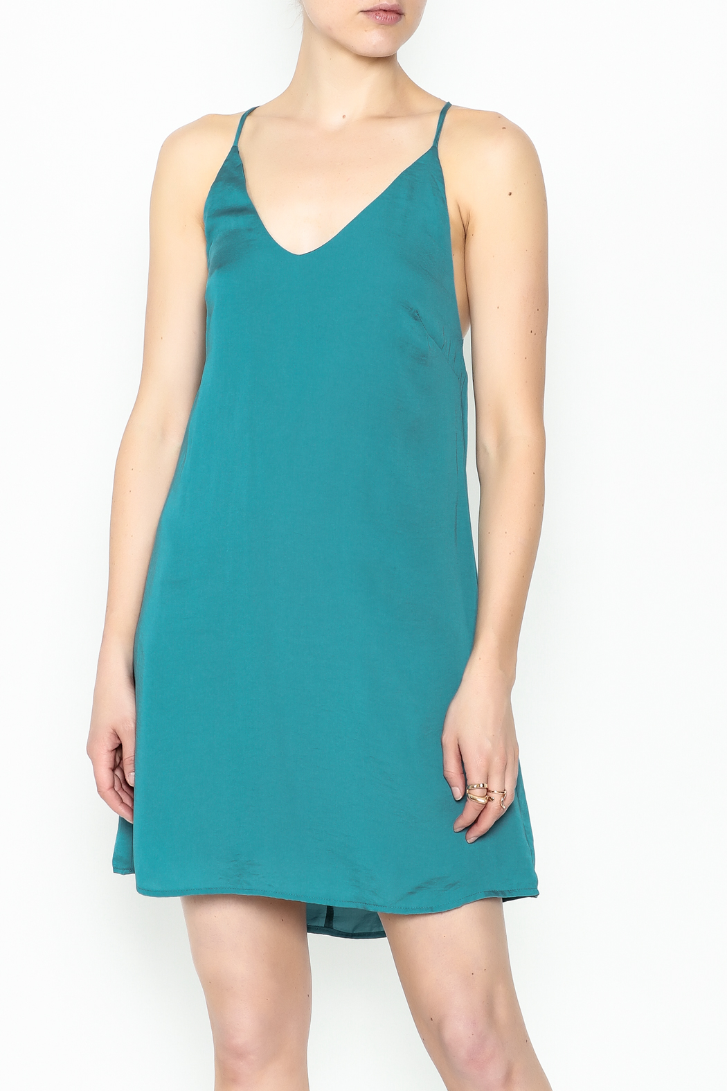 AAKAA Teal Satin Dress - Front Cropped Image