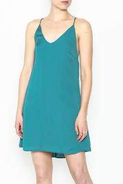 AAKAA Teal Satin Dress - Front cropped