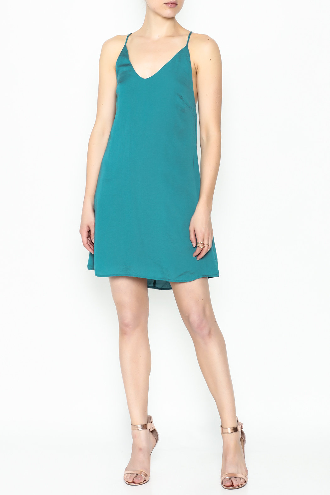 AAKAA Teal Satin Dress - Side Cropped Image