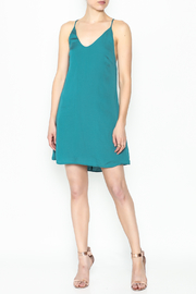 AAKAA Teal Satin Dress - Side cropped